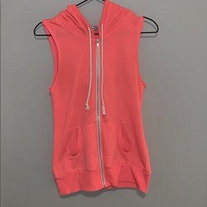 hot pink sleeveless hoodie